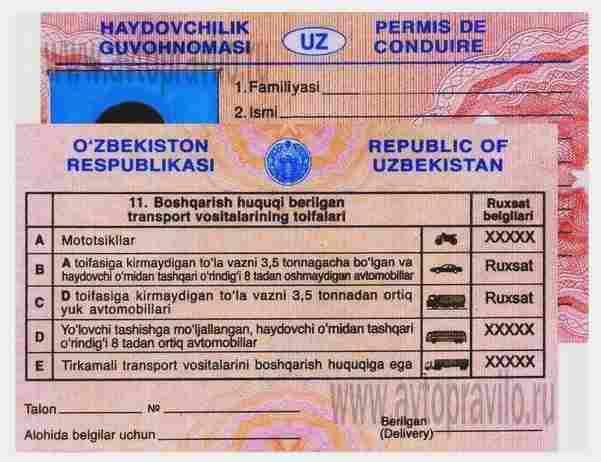 Водительские удостоверения в Республике Узбекистан