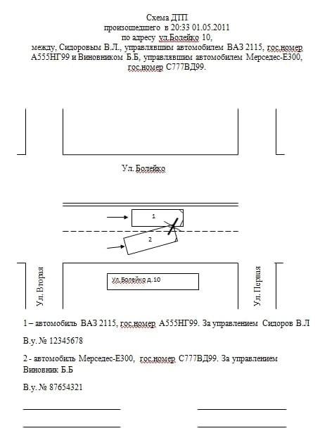 Схема ДТП №2